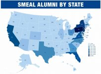 On the Map graphic of Smeal Alumni by State. Link to tabular data below.